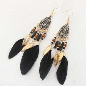 Boho Bead and Feather Earrings
